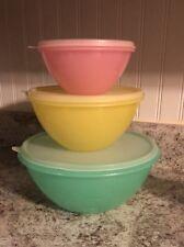 Vintage Pastel Tupperware Wonderlier Bowl 237, 235,233 Pink Yellow Green Beautif