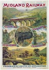Midland Railway   Tourist resorts Derbyshire   Vintage Poster   A1, A2, A3
