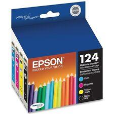 4-PACK Epson GENUINE 124 Ink T124_T1241-T1244_NX125 NX127 NX420 WF 320 323 325