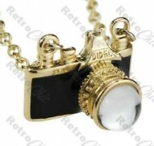 BLACK retro MINI VINTAGE CAMERA pendant NECKLACE gold plated chain gp KITSCH FM2