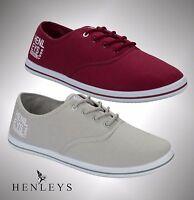 Mens Branded Henleys Original Canvas Pumps Printed Logo Shoes Size UK 6-12