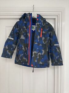 Boden Blue Green Camouflage Hooded Ski Jacket Coat Age 7-8