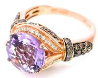 LeVian Pink Amethyst Chocolate Diamonds 3.50 ct Cocktail Ring 14K Rose Gold NEW