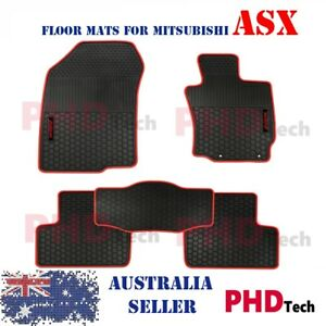 MITSUBISHI ASX 2010-2020 Tailored All Weather Rubber Car Floor Mats Red Trim