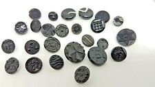 25 Antique Victorian Black Glass Buttons (201)