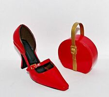 Jc Penney Classy Pump Red High Heel Shoe & Hat Box Handbag Christmas Ornaments