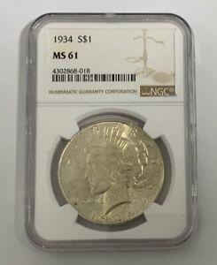 1934  Peace Dollar MS 61 NGC Key Date +++++