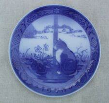 "Royal Copenhagen of Denmark 1970 Plate ""Christmas Rose and Cat"" Julerose Og Kat"