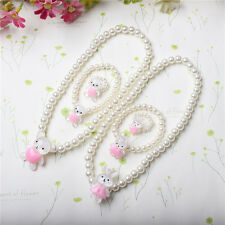 Kids Girls Pink White Princess Beads Necklace&Bracelet&Ring Set Jewelry Gifts