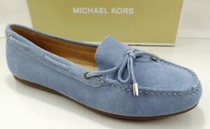 MICHAEL Michael Kors Sutton Moc Moccasin Flat Shoes Suede Powder Blue Size 10