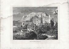 Stampa antica CAPRI veduta panoramica dall' Hotel Pagano Napoli 1876 Old print