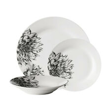 Avie 12 Piece Dinner Serving Botanic Patterned Black Side Plate Bowl Dish Set