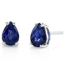 14K 14ct White Gold 1.5 Ct Lab Blue Sapphire Stud Earrings Pear 7x5mm