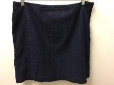 LL Bean Short Skirt Sz 14 Petite Navy Blue Eyelet Favorite Fit New Side Zip W31