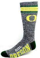 Oregon Ducks NCAA Four Stripe Heather Gray Green Crew Socks