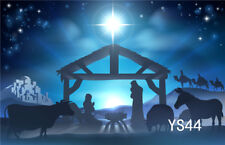 LB Vinyl Photo Background 7X5FT Nativity of Jesus Glitter Stars Studio Backdrop