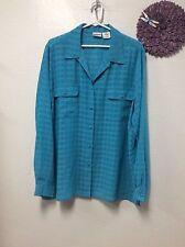 Ladies shirt LIZ BAKER Tall size 20 T blue front pockets button down sheer 33