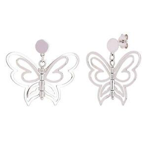 """Italian 14k White Gold Butterfly Earrings 1"""" 4.1 grams"""