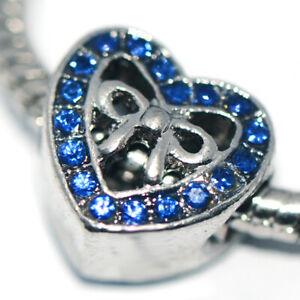 1X Heart Blue Bead Charm Silver Fit Eupropean Chain Bracelet Making Jewelry DIY