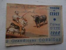 Billet d'entrée pour TOROS en CERET Corridas 1960