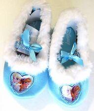 New Disney Frozen Anna Elsa Blue Glitter Furry Slippers Small 5/6 Slip on