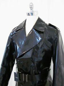 $3215 Nwt ZEGNA Black Leather Full Trench Coat 54 44