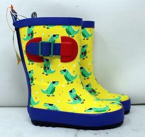 Sun Squad Kids' Gardening Boots Small (5/6) Blue/Yellow Dinosaurs
