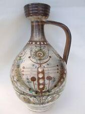 Vase pichet grès décor stylisé André l'Helguen Keraluc Quimper vers 1950-60