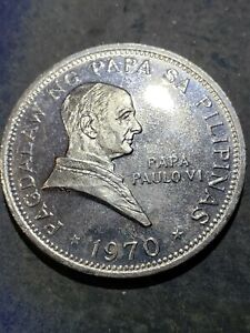 1970 Philippines  1 Piso  Pope PAUL VI Visit Marcos Nickel Coin