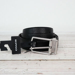 NWT Coach F59116 Modern Harness Cut-to-Size Reversible Leather Belt in Black