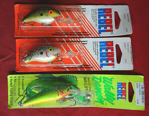 3X VINTAGE OLD SHOP REBEL LURES (2X DEEP WEE AND 1X WALLY DEMON)
