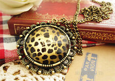 Fashion Charm jewelry Leopard Round Vintage Long Pendant Chain Sweater Necklace