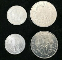 DJIBOUTI SET 2 COIN 1 2 FRANCS 1977 1986 UNC