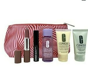 CLINIQUE 7 Piece Skincare & Makeup Gift Set including Cosmetic Bag ~ Sealed!
