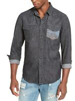 American Rag Mens Shirt Wash Black Size Large L Button Down Western Leon $45 127