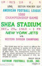 1968 AFL WORLD CHAMPIONS OAKLAND RAIDERS @ NEW YORK JETS TICKET STUB JOE NAMATH