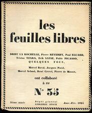 QUELQUES FOUS, Les feuilles libres n° 35-1924. Drieu la Rochelle Tzara Satie...