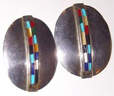 Native American Turquoise Earrings Petit Point Multi Stone Sterling Silver 13g