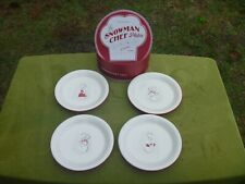"""Williams Sonoma Snowman Chef 4 Appetizer 6"""" Plate Set Holiday Christmas"""