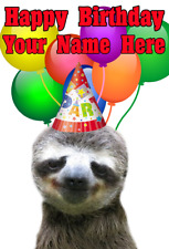 Sloth nnc111 Party Hat Happy Birthday Greeting Cards Personalised a5