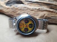VERY RARE VINTAGE CITIZEN BULLHEAD CHRONOGRAPH YELLOW DIAL DAYDATE MAN'S WATCH