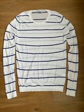 AMERICAN VINTAGE Men Blue White Striped Soft Lightweight Sweater Jumper Small S