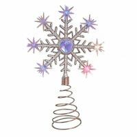 Christmas Tree Topper Light Decoration Glitter Silver LED Colour Changing Party