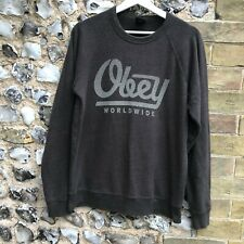 MENS OBEY USA GREY JUMPER SIZE SMALL SWEATER SPELLOUT TOP SKATE