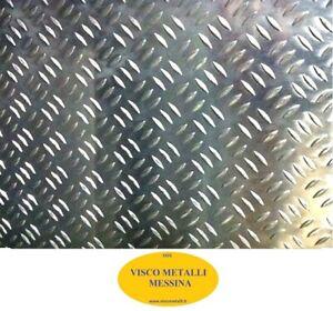 Lastra Lamiera Lamina Alluminio mandorlata grana riso fresa mm 1,5x625x625