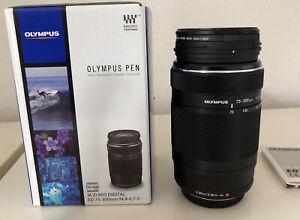 Olympus M.Zuiko Digital ED 75-300mm F/4.8-F/6.7 Telephoto Zoom Lens, Black.