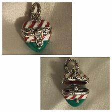 Brighton CANDY CANE HEART Hinged Christmas Charm That Opens w/ Star Inside