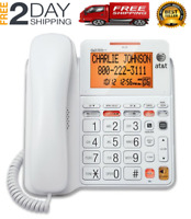 ATT Landline Phone With Answering Machine For Seniors Large Button For Home Wall