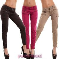 Jeans donna pantaloni cavallo basso aderenti slim colorati tasconi nuovi HZ1805B