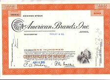 Original Share Certificate  American Brands Inc Issued in New Jersey 1970